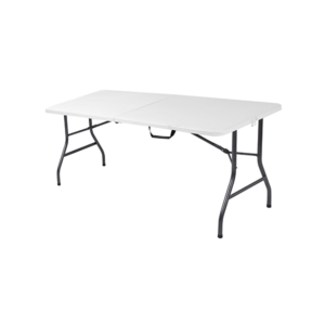 white plastic banquet table